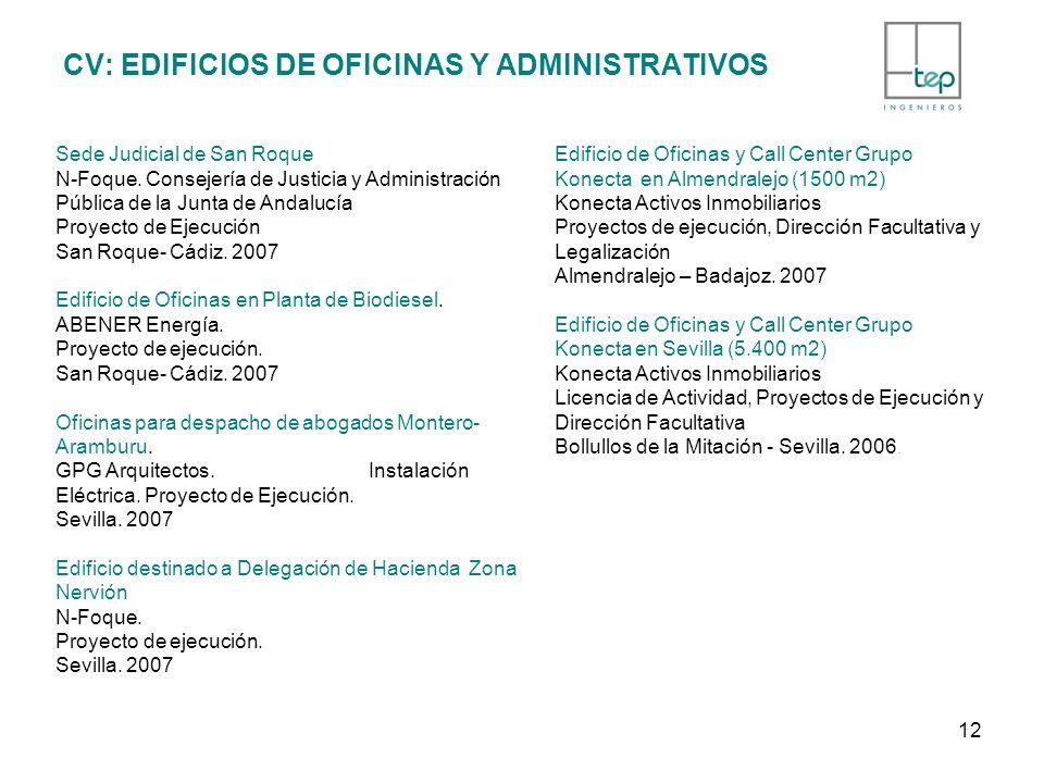 CV: EDIFICIOS DE OFICINAS Y ADMINISTRATIVOS Sede Judicial de San Roque N-Foque. Consejería de Justicia y Administración Pública de la Junta de Andaluc