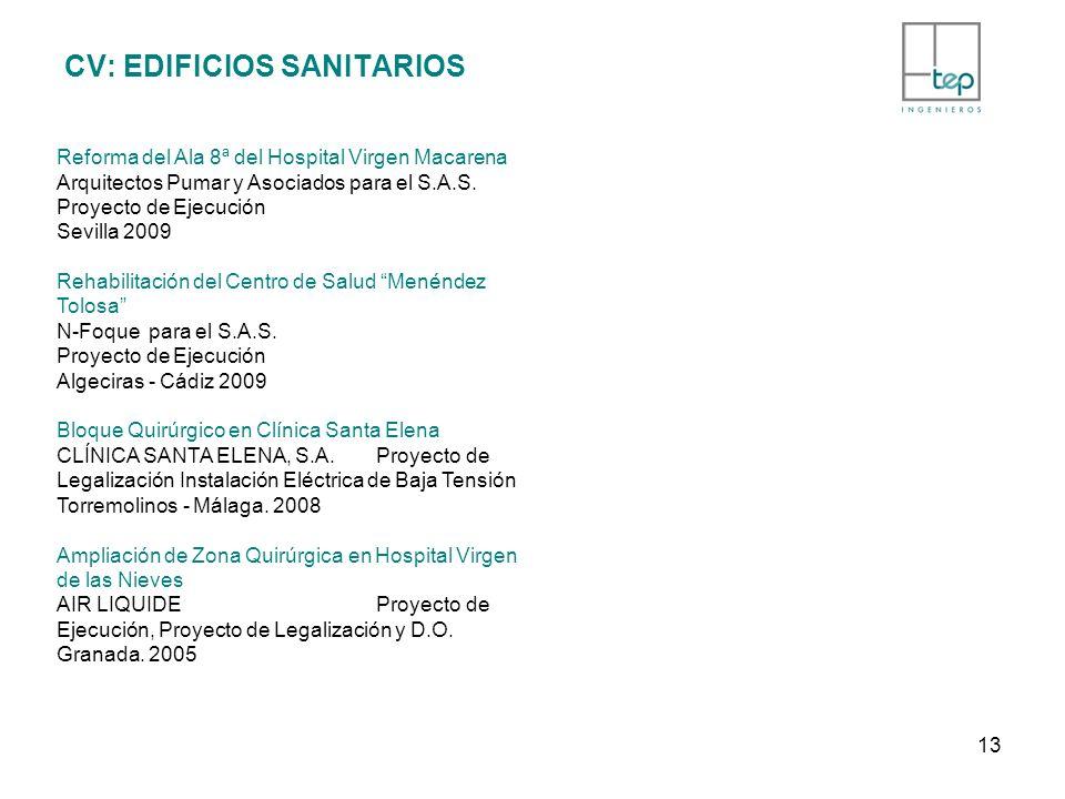 CV: EDIFICIOS SANITARIOS Reforma del Ala 8ª del Hospital Virgen Macarena Arquitectos Pumar y Asociados para el S.A.S. Proyecto de Ejecución Sevilla 20
