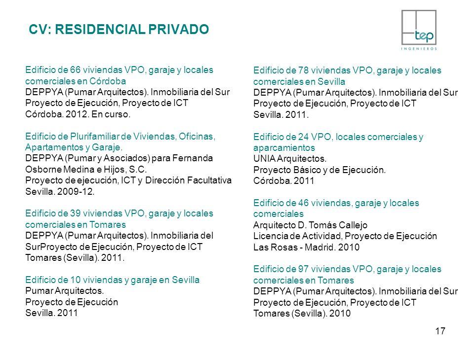 CV: RESIDENCIAL PRIVADO Edificio de 66 viviendas VPO, garaje y locales comerciales en Córdoba DEPPYA (Pumar Arquitectos). Inmobiliaria del Sur Proyect