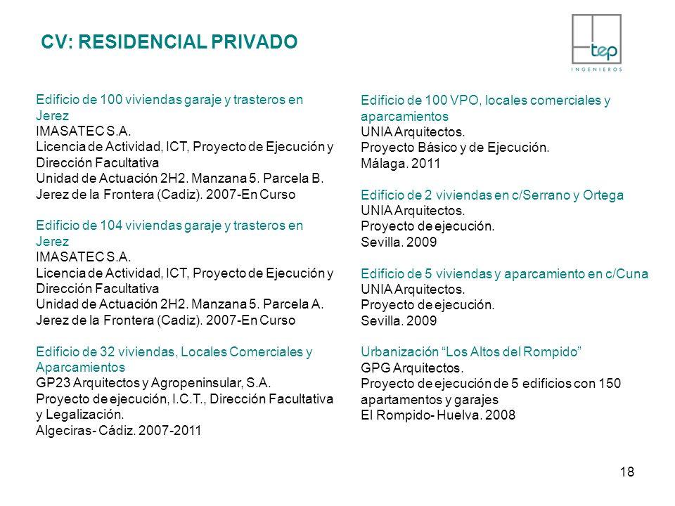 CV: RESIDENCIAL PRIVADO Edificio de 100 viviendas garaje y trasteros en Jerez IMASATEC S.A. Licencia de Actividad, ICT, Proyecto de Ejecución y Direcc