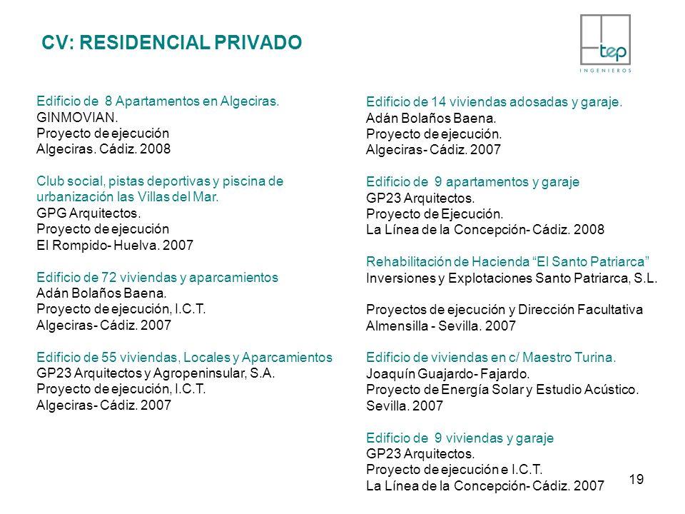 CV: RESIDENCIAL PRIVADO Edificio de 8 Apartamentos en Algeciras. GINMOVIAN. Proyecto de ejecución Algeciras. Cádiz. 2008 Club social, pistas deportiva