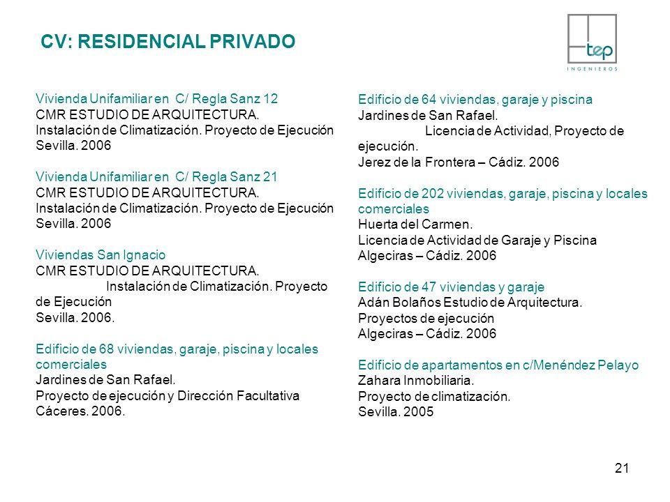 CV: RESIDENCIAL PRIVADO Vivienda Unifamiliar en C/ Regla Sanz 12 CMR ESTUDIO DE ARQUITECTURA. Instalación de Climatización. Proyecto de Ejecución Sevi