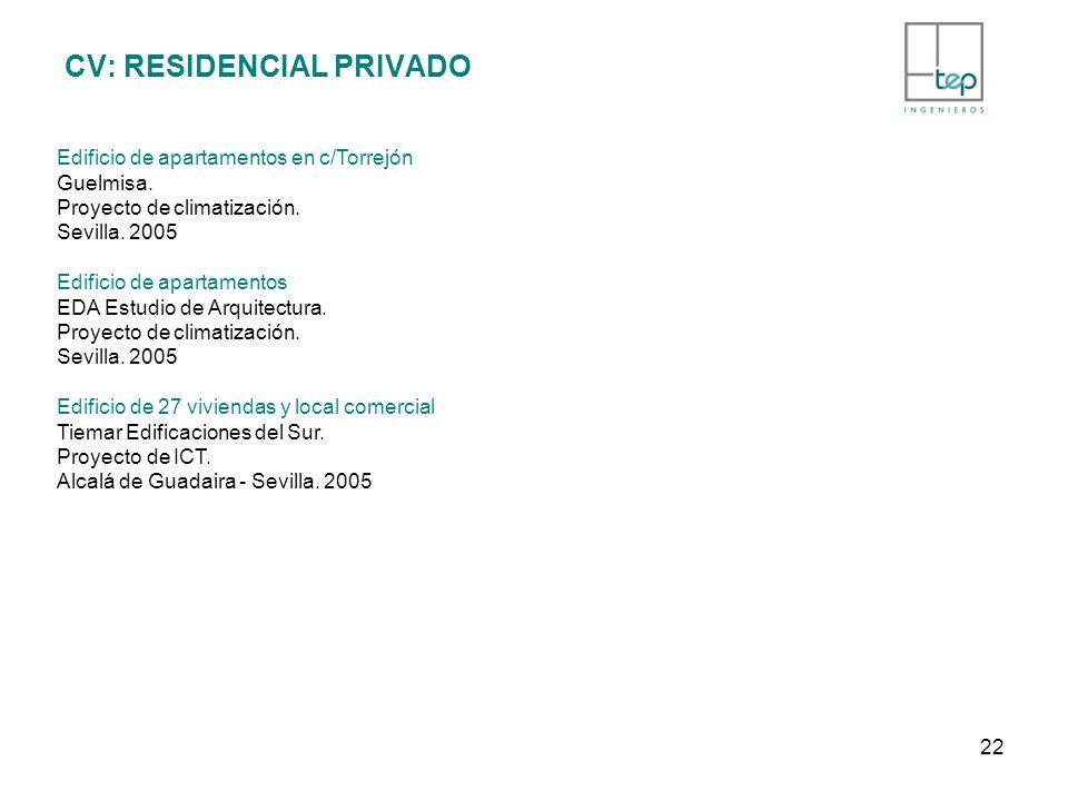 CV: RESIDENCIAL PRIVADO Edificio de apartamentos en c/Torrejón Guelmisa. Proyecto de climatización. Sevilla. 2005 Edificio de apartamentos EDA Estudio