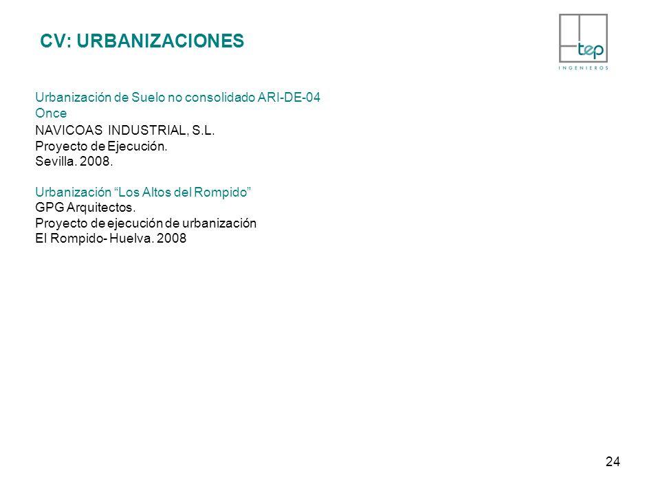 CV: URBANIZACIONES Urbanización de Suelo no consolidado ARI-DE-04 Once NAVICOAS INDUSTRIAL, S.L. Proyecto de Ejecución. Sevilla. 2008. Urbanización Lo