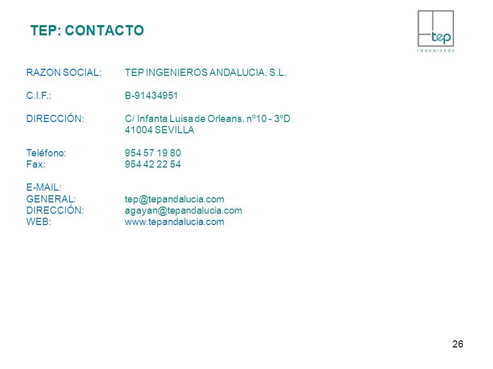 TEP: CONTACTO RAZON SOCIAL:TEP INGENIEROS ANDALUCIA, S.L. C.I.F.: B-91434951 DIRECCIÓN: C/ Infanta Luisa de Orleans, nº10 - 3ºD 41004 SEVILLA Teléfono