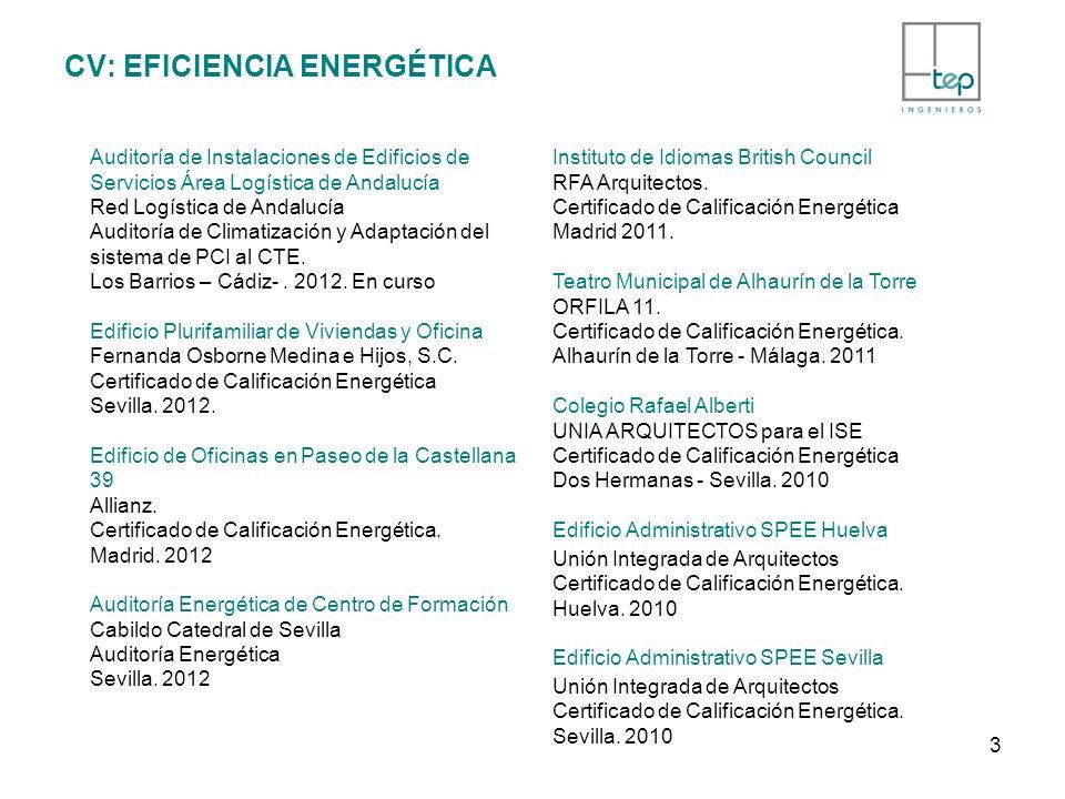 CV: EFICIENCIA ENERGÉTICA Auditoría de Instalaciones de Edificios de Servicios Área Logística de Andalucía Red Logística de Andalucía Auditoría de Cli