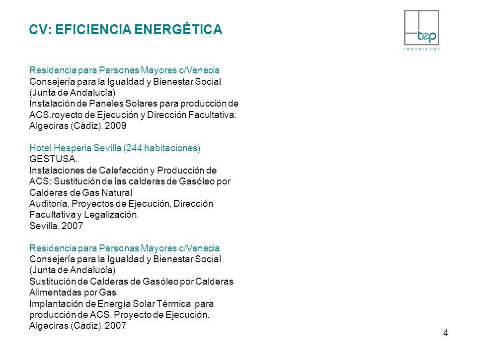 CV: EFICIENCIA ENERGÉTICA Residencia para Personas Mayores c/Venecia Consejería para la Igualdad y Bienestar Social (Junta de Andalucía) Instalación d