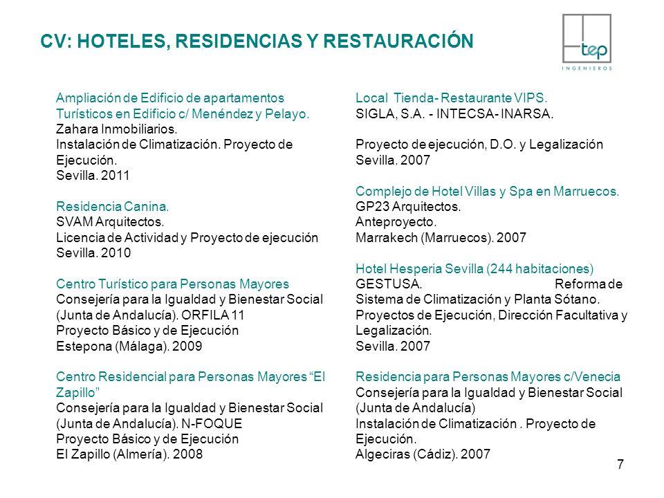 CV: HOTELES, RESIDENCIAS Y RESTAURACIÓN Ampliación de Edificio de apartamentos Turísticos en Edificio c/ Menéndez y Pelayo. Zahara Inmobiliarios. Inst