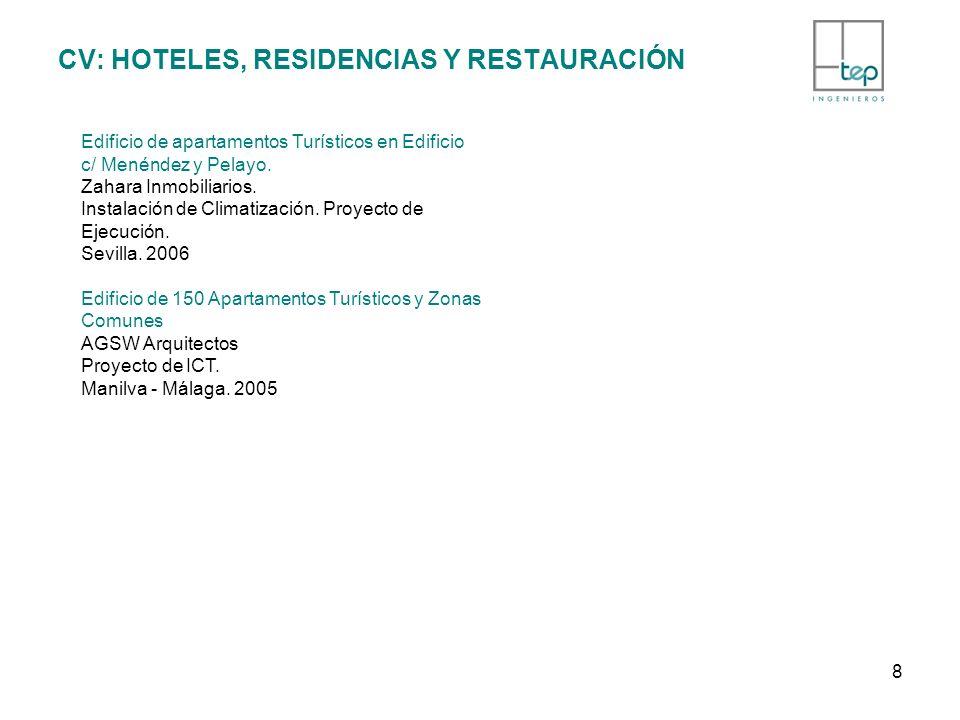 CV: HOTELES, RESIDENCIAS Y RESTAURACIÓN Edificio de apartamentos Turísticos en Edificio c/ Menéndez y Pelayo. Zahara Inmobiliarios. Instalación de Cli