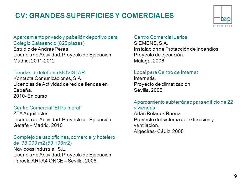 CV: GRANDES SUPERFICIES Y COMERCIALES Aparcamiento privado y pabellón deportivo para Colegio Calasancio (825 plazas) Estudio de Andrés Perea. Licencia
