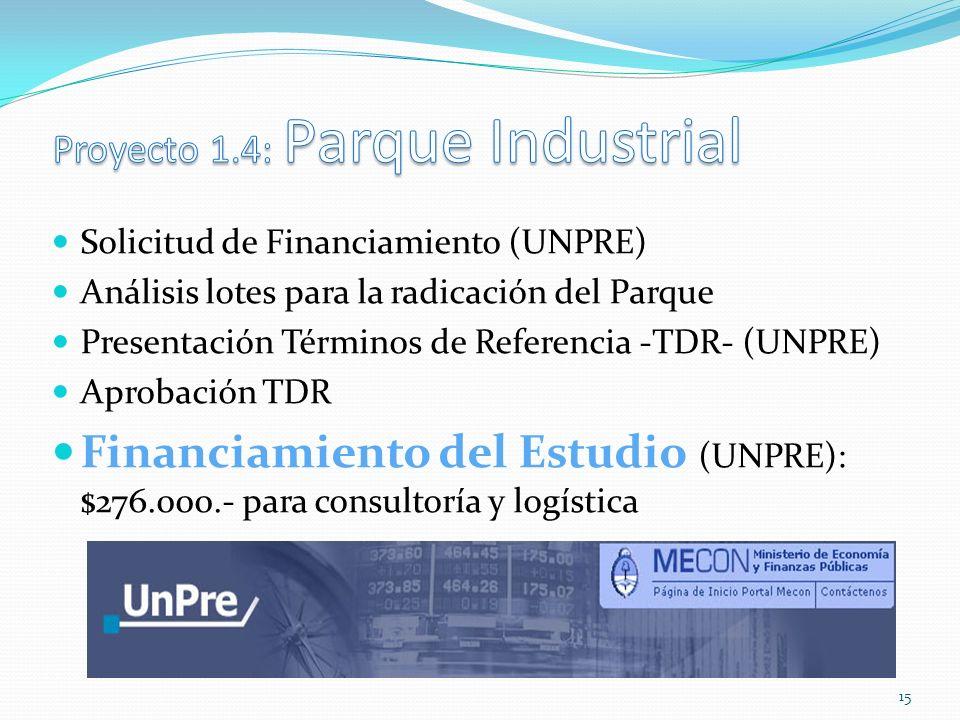 Solicitud de Financiamiento (UNPRE) Análisis lotes para la radicación del Parque Presentación Términos de Referencia -TDR- (UNPRE) Aprobación TDR Financiamiento del Estudio (UNPRE): $276.000.- para consultoría y logística 15