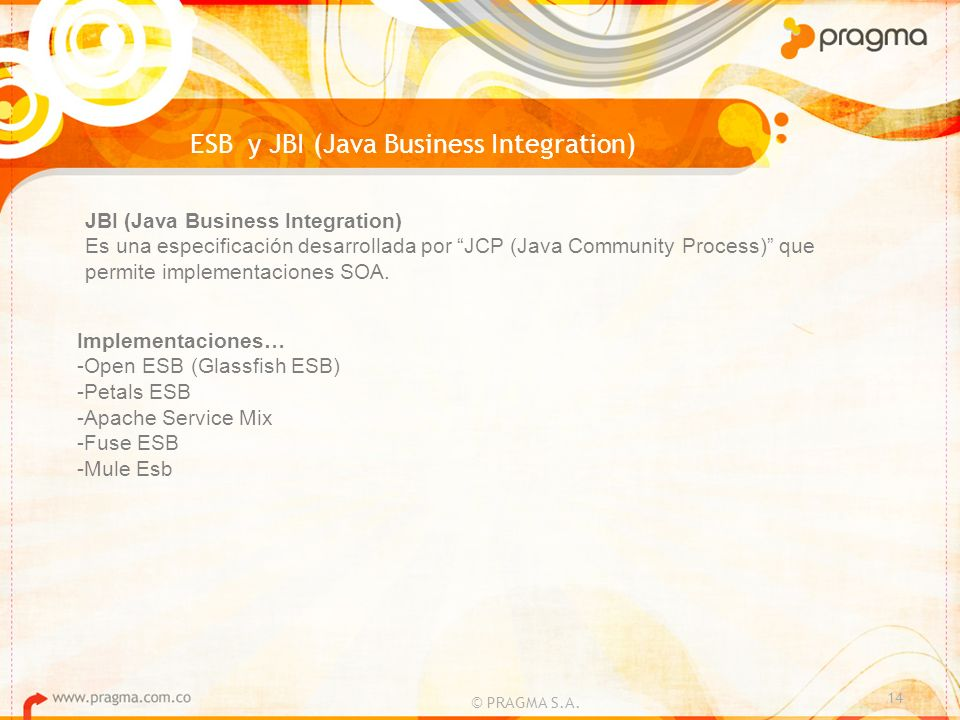 © PRAGMA S.A. 14 ESB y JBI (Java Business Integration) JBI (Java Business Integration) Es una especificación desarrollada por JCP (Java Community Proc