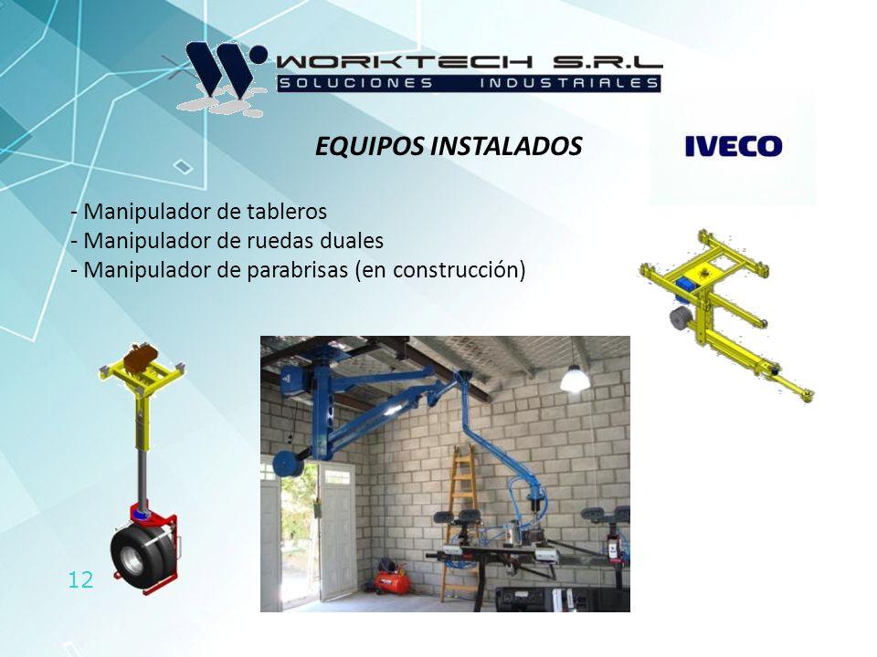 12 EQUIPOS INSTALADOS - Manipulador de tableros - Manipulador de ruedas duales - Manipulador de parabrisas (en construcción)