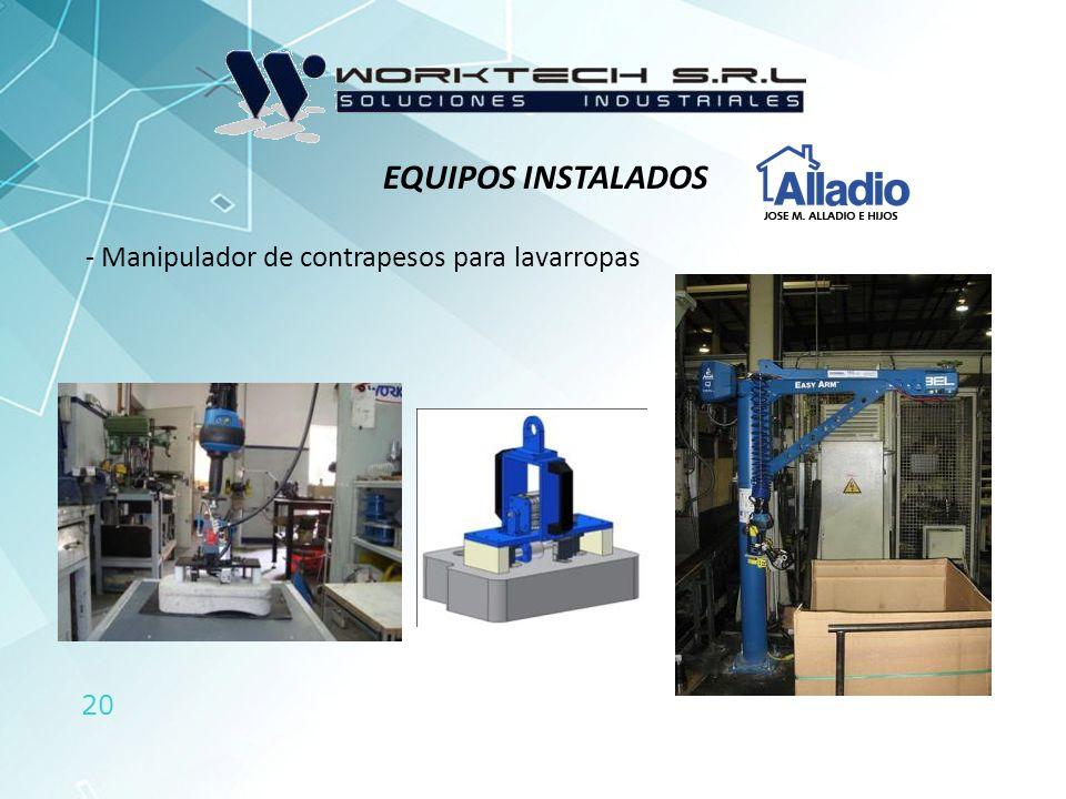 20 - Manipulador de contrapesos para lavarropas EQUIPOS INSTALADOS