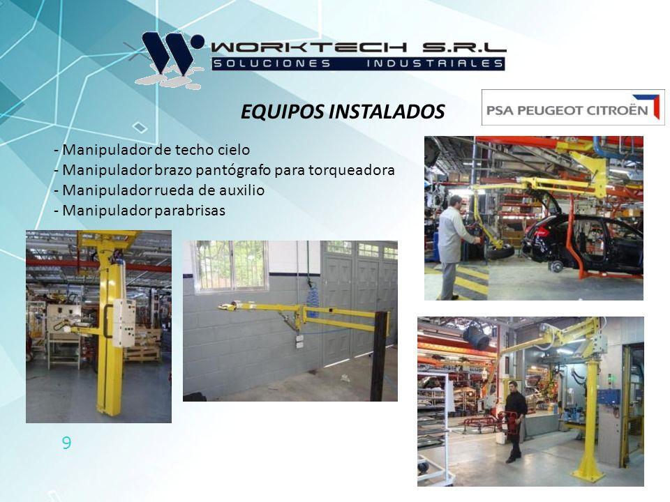 9 EQUIPOS INSTALADOS - Manipulador de techo cielo - Manipulador brazo pantógrafo para torqueadora - Manipulador rueda de auxilio - Manipulador parabri