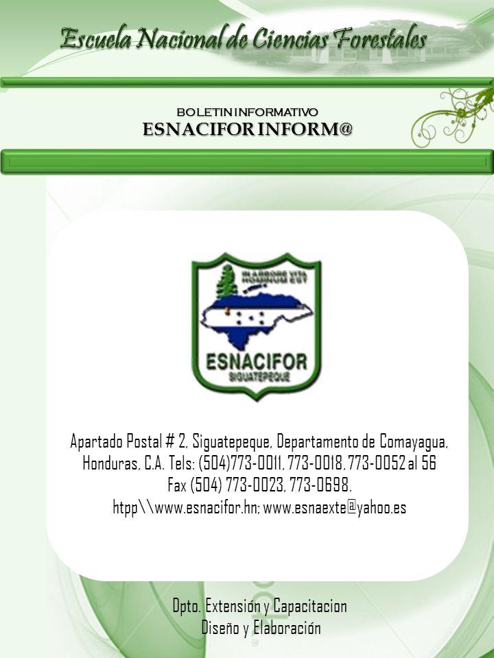 BOLETIN INFORMATIVO ESNACIFOR INFORM@ Apartado Postal # 2, Siguatepeque, Departamento de Comayagua, Honduras, C.A. Tels: (504)773-0011, 773-0018, 773-
