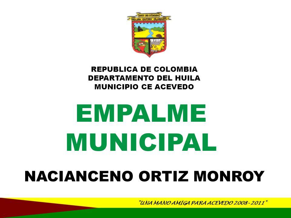 UNA MANO AMIGA PARA ACEVEDO 2008- 2011 REPUBLICA DE COLOMBIA DEPARTAMENTO DEL HUILA MUNICIPIO CE ACEVEDO EJECUCION DE GASTOS DETALLE PRESUPUESTO DEFINITIVO DISPONIBILIDADES SALDO DISPONIBLE% TOTAL DE LA DEUDA 360,000,000 280,486,698 79,513,30278 DEUDA INTERNA 360,000,000 280,486,698 79,513,30278 OTROS SECTORES SOCIALES 360,000,000 280,486,698 79,513,30278 DETALLE PRESUPUESTO DEFINITIVO DISPONIBILIDADES SALDO DISPONIBLE% TOTAL INVERSIÓN 15,302,723,889 14,444,830,549 857,893,34094 EDUCACIÓN 1,309,052,945 1,308,930,948 121,997100 SALUD 8,258,898,905 7,736,644,292 522,254,61394 AGUA POTABLE Y SANEAMIENTO BÁSICO (SIN INCLUIR PROYECTOS DE VIS) 1,602,773,276 1,393,429,223 209,344,05387 DEPORTE Y RECREACIÓN 429,254,212 425,475,779 3,778,43399 CULTURA 135,752,877 128,264,111 7,488,76694 SERVICIOS PÚBLICOS DIFERENTES A ACUEDUCTO ALCANTARILLADO Y ASEO (SIN INCLUIR PROYECTOS DE VIVIENDA DE INTERÉS SOCIAL) 30,000,000 -100