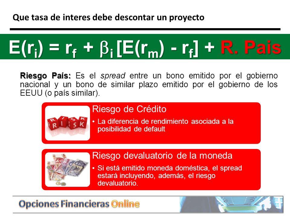 20 Que tasa de interes debe descontar un proyecto Riesgo País: Riesgo País: Es el spread entre un bono emitido por el gobierno nacional y un bono de similar plazo emitido por el gobierno de los EEUU (o país similar).