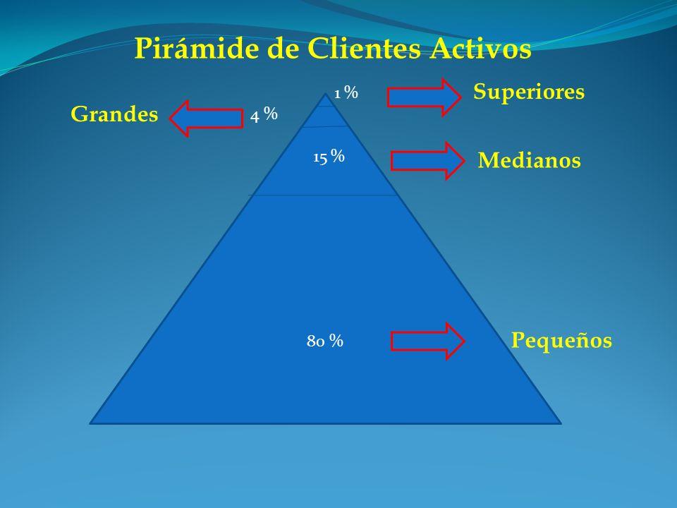 Pirámide de Clientes Activos 80 % Superiores Grandes Medianos Pequeños 15 % 4 % 1 %