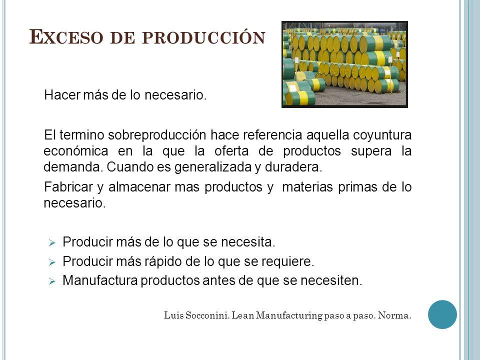 E XCESO DE PRODUCCIÓN Hacer más de lo necesario. El termino sobreproducción hace referencia aquella coyuntura económica en la que la oferta de product