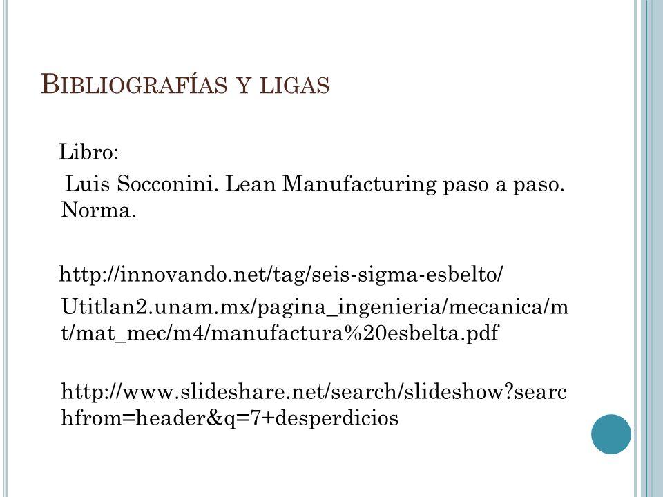 B IBLIOGRAFÍAS Y LIGAS Libro: Luis Socconini. Lean Manufacturing paso a paso. Norma. http://innovando.net/tag/seis-sigma-esbelto/ Utitlan2.unam.mx/pag