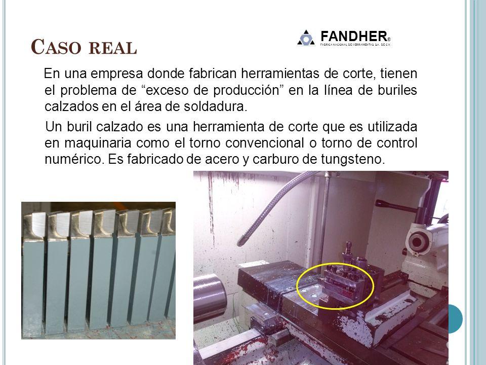 C ASO REAL En una empresa donde fabrican herramientas de corte, tienen el problema de exceso de producción en la línea de buriles calzados en el área