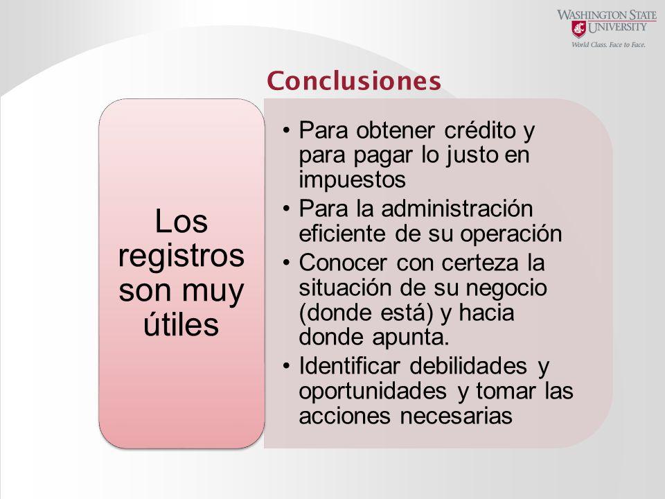 Conclusiones Para obtener crédito y para pagar lo justo en impuestos Para la administración eficiente de su operación Conocer con certeza la situación
