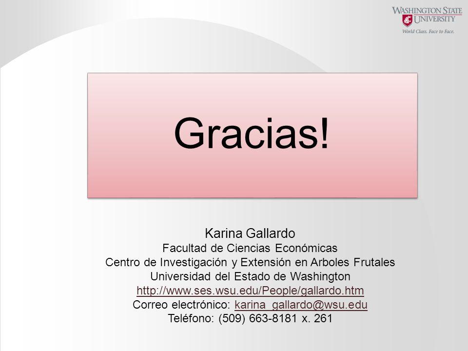 Gracias! Karina Gallardo Facultad de Ciencias Económicas Centro de Investigación y Extensión en Arboles Frutales Universidad del Estado de Washington