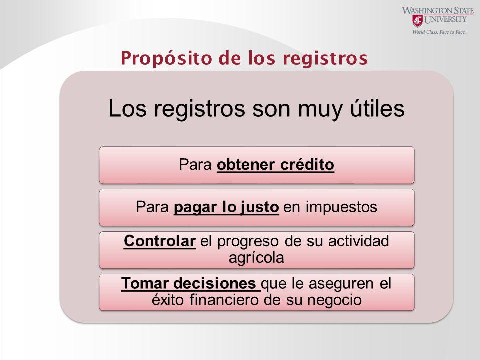 Propósito de los registros Los registros son muy útiles Para obtener créditoPara pagar lo justo en impuestos Controlar el progreso de su actividad agr