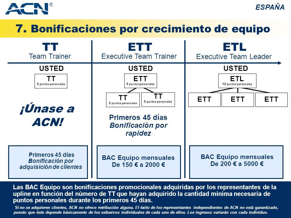 7. Bonificaciones por crecimiento de equipo ESPAÑA Si no se adquieren clientes, ACN no ofrece retribución alguna. El éxito de los representantes indep