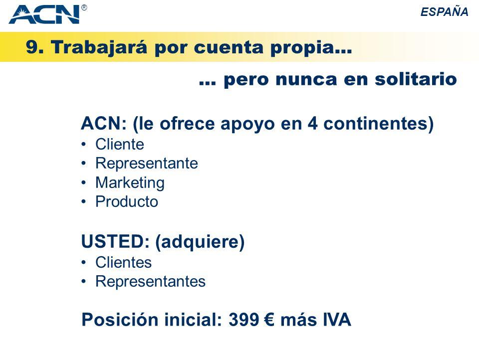 9. Trabajará por cuenta propia... ESPAÑA... pero nunca en solitario Posición inicial: 399 más IVA ACN: (le ofrece apoyo en 4 continentes) Cliente Repr