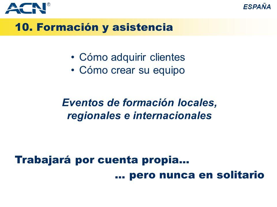 10. Formación y asistencia ESPAÑA Cómo adquirir clientes Cómo crear su equipo Trabajará por cuenta propia...... pero nunca en solitario Eventos de for