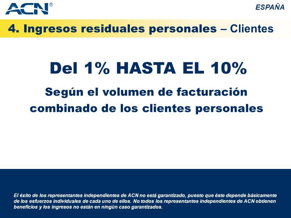 4. Ingresos residuales personales – Clientes ESPAÑA El éxito de los representantes independientes de ACN no está garantizado, puesto que éste depende