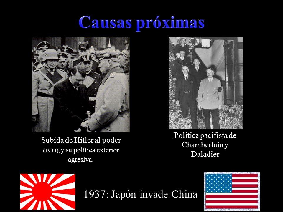 Subida de Hitler al poder (1933), y su política exterior agresiva. Política pacifista de Chamberlain y Daladier 1937: Japón invade China
