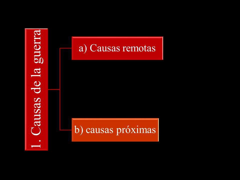 1. Causas de la guerra a) Causas remotas b) causas próximas