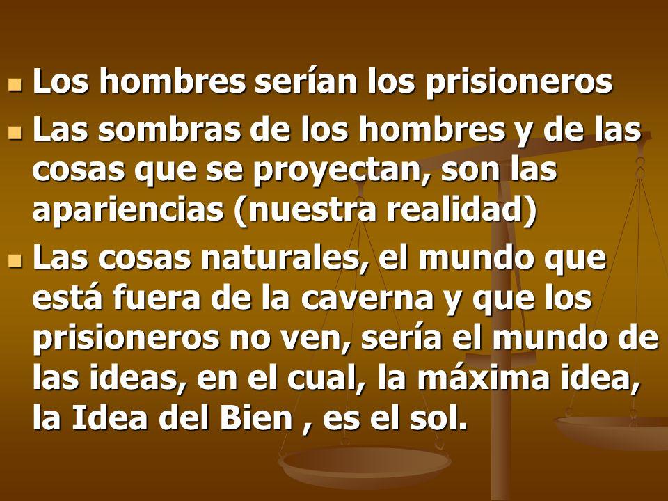 Los hombres serían los prisioneros Los hombres serían los prisioneros Las sombras de los hombres y de las cosas que se proyectan, son las apariencias