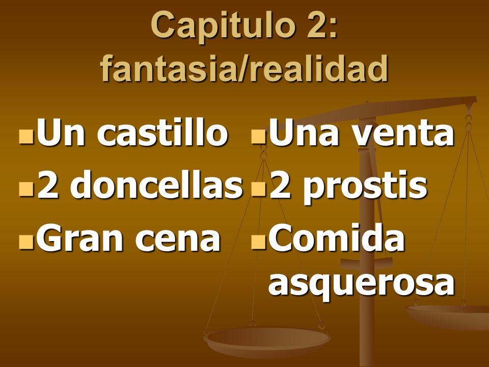 Capitulo 2: fantasia/realidad Un castillo Un castillo 2 doncellas 2 doncellas Gran cena Gran cena Una venta Una venta 2 prostis 2 prostis Comida asque