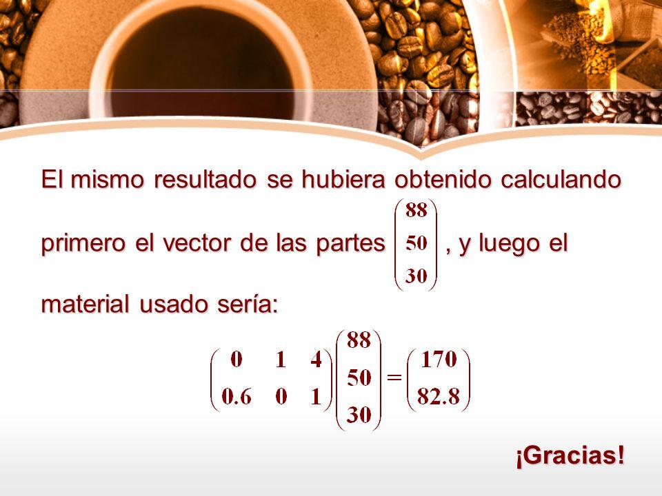 El mismo resultado se hubiera obtenido calculando primero el vector de las partes, y luego el material usado sería: ¡Gracias!