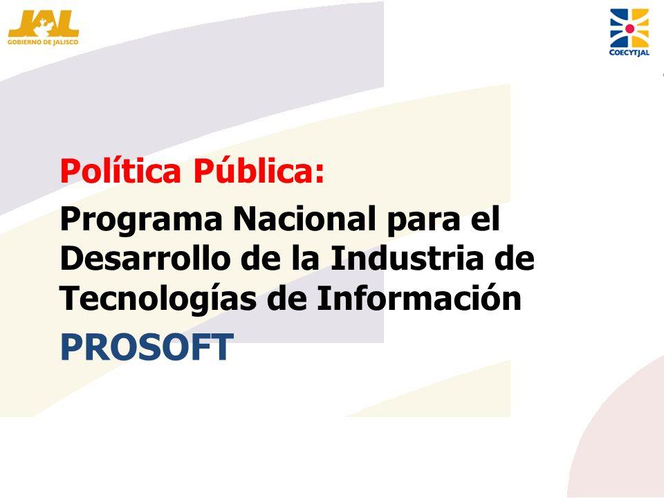 PROSOFT Política Pública: Programa Nacional para el Desarrollo de la Industria de Tecnologías de Información