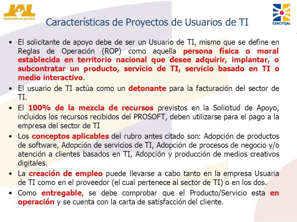 Características de Proyectos de Usuarios de TI El solicitante de apoyo debe de ser un Usuario de TI, mismo que se define en Reglas de Operación (ROP)