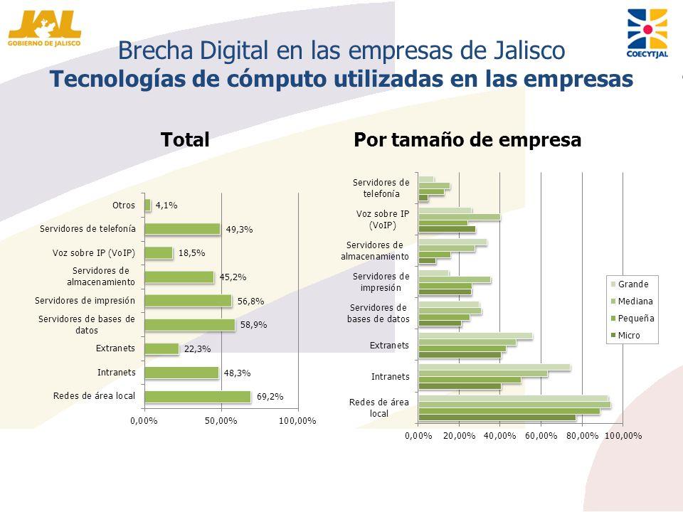 Brecha Digital en las empresas de Jalisco Tecnologías de cómputo utilizadas en las empresas TotalPor tamaño de empresa