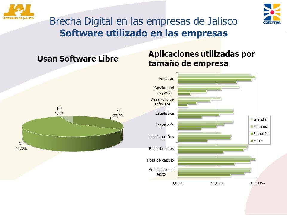 Brecha Digital en las empresas de Jalisco Software utilizado en las empresas Usan Software Libre Aplicaciones utilizadas por tamaño de empresa