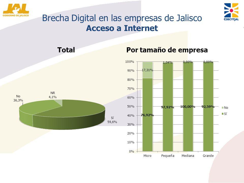 Brecha Digital en las empresas de Jalisco Acceso a Internet TotalPor tamaño de empresa
