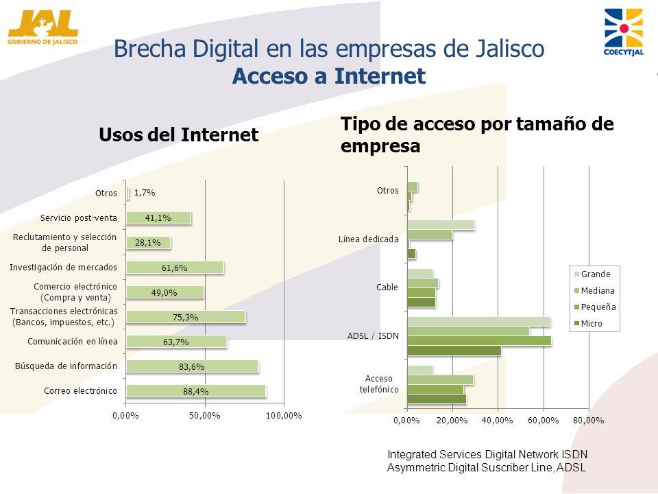 Brecha Digital en las empresas de Jalisco Acceso a Internet Usos del Internet Tipo de acceso por tamaño de empresa Integrated Services Digital Network