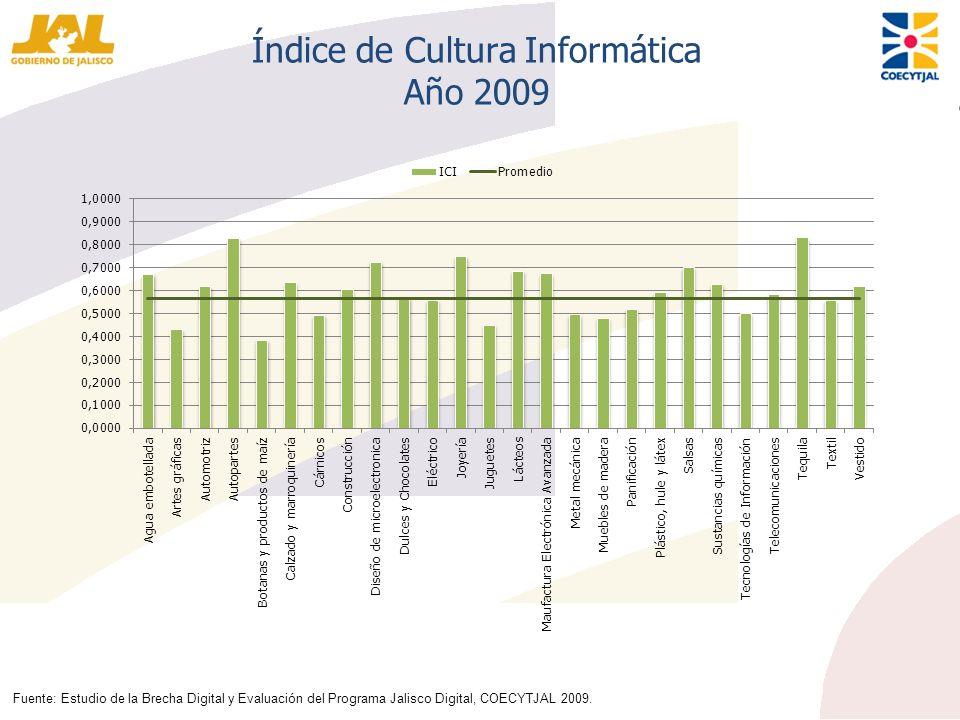 Índice de Cultura Informática Año 2009 Fuente: Estudio de la Brecha Digital y Evaluación del Programa Jalisco Digital, COECYTJAL 2009.