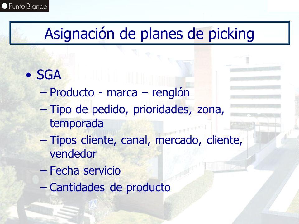 Enero06 Asignación de planes de picking SGA –Producto - marca – renglón –Tipo de pedido, prioridades, zona, temporada –Tipos cliente, canal, mercado,