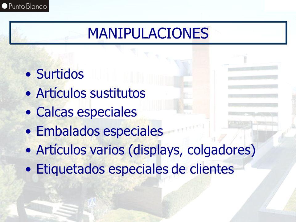 MANIPULACIONES Surtidos Artículos sustitutos Calcas especiales Embalados especiales Artículos varios (displays, colgadores) Etiquetados especiales de