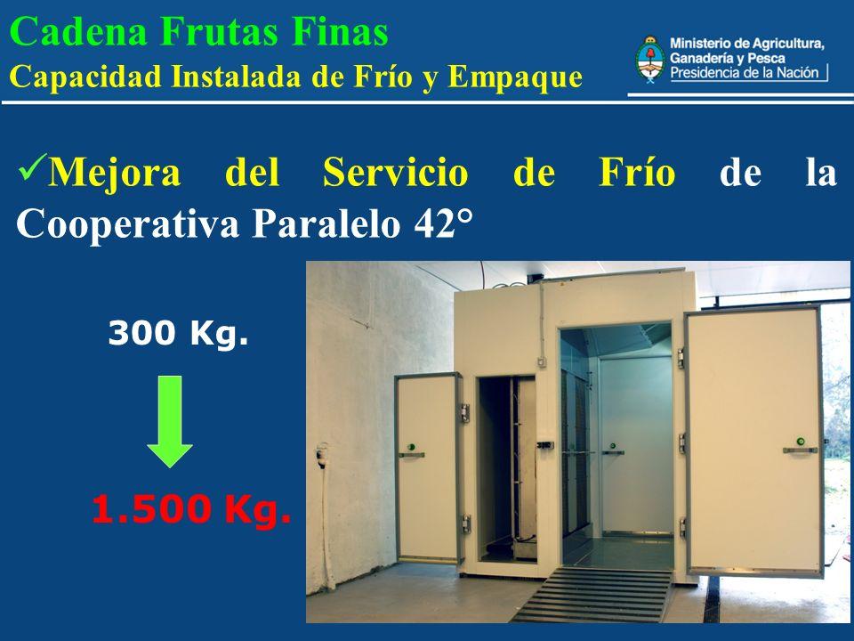 12 Cadena Frutas Finas Capacidad Instalada de Frío y Empaque Mejora del Servicio de Frío de la Cooperativa Paralelo 42° 300 Kg. 1.500 Kg.