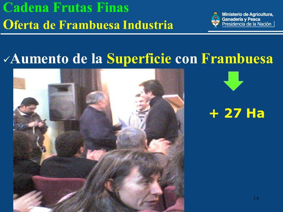 14 Cadena Frutas Finas O ferta de Frambuesa Industria Aumento de la Superficie con Frambuesa + 27 Ha