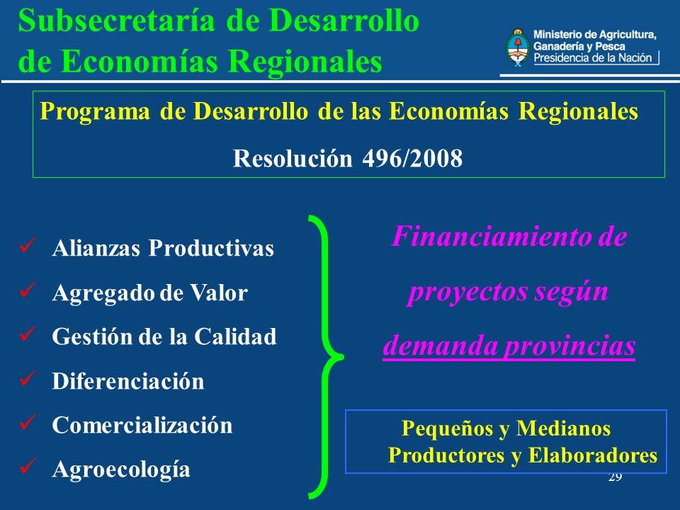 29 Alianzas Productivas Agregado de Valor Gestión de la Calidad Diferenciación Comercialización Agroecología Financiamiento de proyectos según demanda